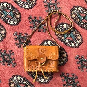 Genuine Leather Hand Tooled Mini Purse